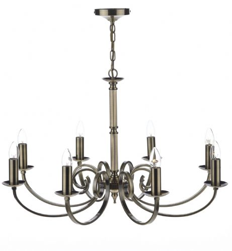 Dar Murray 8 Light Dual Mount Pendant Antique Brass MUR0875